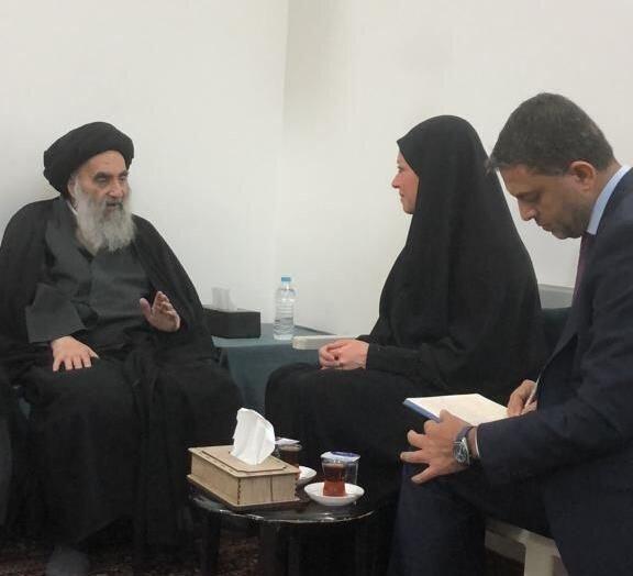 آیت الله سیستانی در دیدار نماینده سازمان ملل تاکید کردند: ضرورت اجرای اصلاحات حقیقی، توقف استفاده از خشونت علیه معترضان و عدم دخالت بیگانه